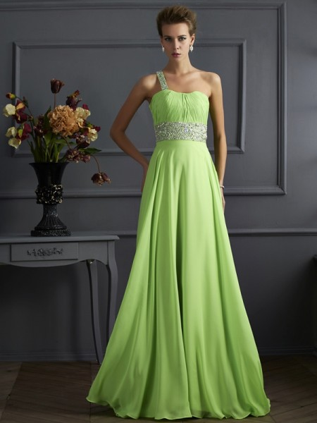 Fashion A-Line/Princess Beading One-Shoulder Sleeveless Chiffon Long Dresses