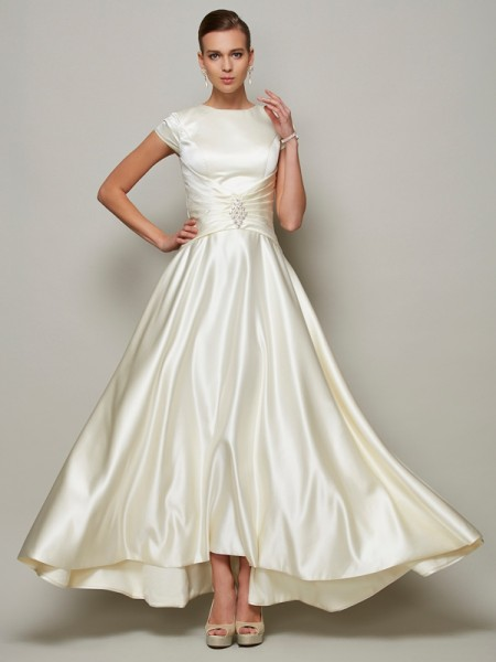 Fashion A-Line/Princess Short Sleeves Beading Scoop Long Satin Mother of the Bride Dresses