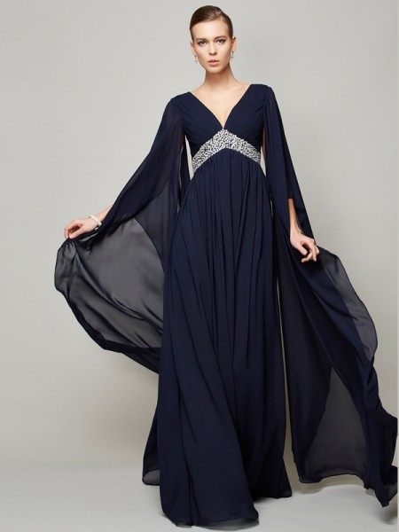 Fashion A-Line/Princess Long Sleeves Beading V-neck Long Chiffon Dresses