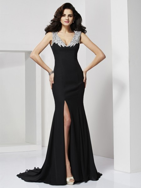 Fashion A-Line/Princess Sleeveless Long Straps Chiffon Beading Dresses