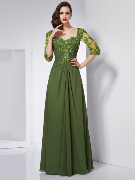 Stylish A-Line/Princess 3/4 Sleeves Beading Sweetheart Long Chiffon Dresses