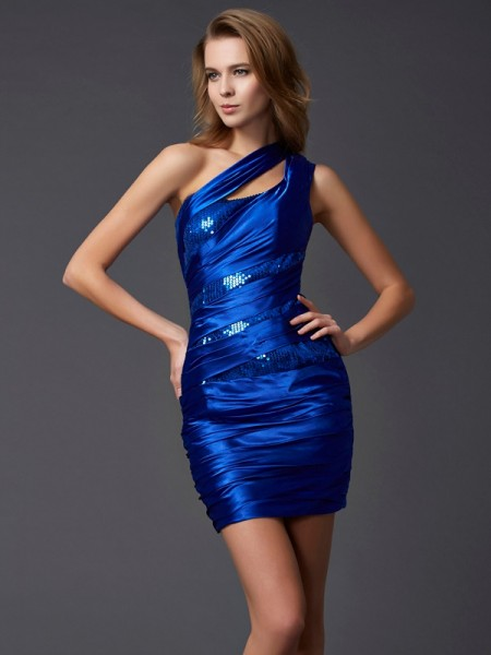 Stylish Sheath/Column Sleeveless Paillette One-Shoulder Short Silk like Satin Homecoming Dresses