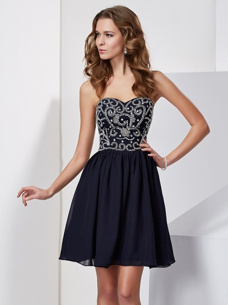 Fashion A-Line/Princess Beading Sleeveless Sweetheart Chiffon Short Homecoming Dresses
