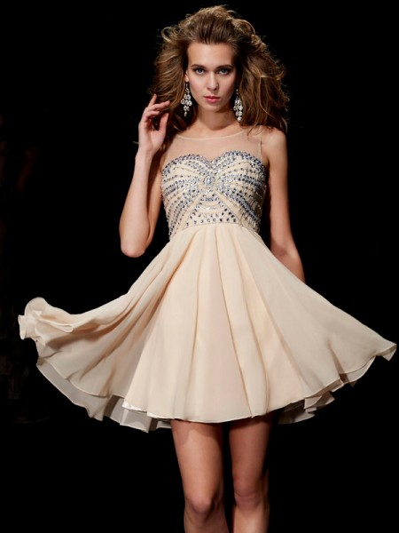 Stylish A-Line/Princess Scoop Beading Sleeveless Short Chiffon Homecoming Dresses