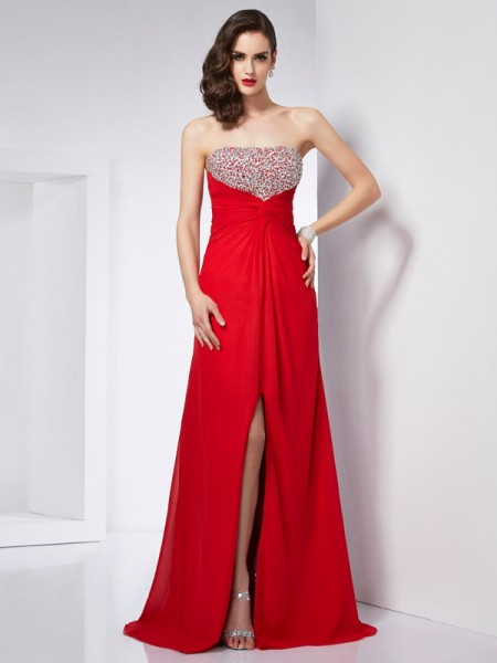 Stylish A-Line/Princess Strapless Beading Sleeveless Long Chiffon Dresses
