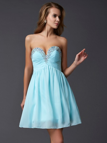 Fashion A-Line/Princess Sweetheart Beading Sleeveless Short Chiffon Homecoming Dresses