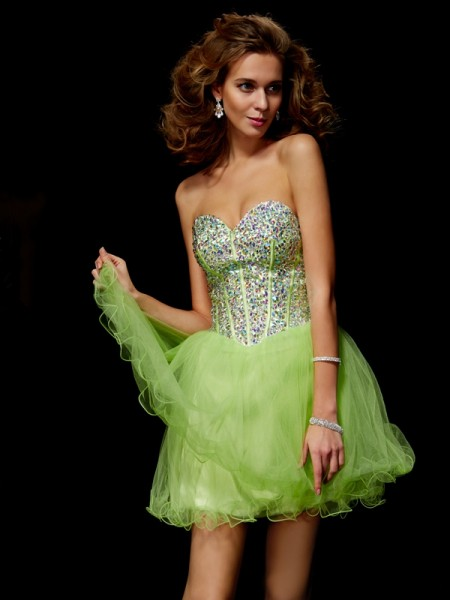 Stylish A-Line/Princess Sleeveless Sequin Sweetheart Beading Short Elastic Woven Satin