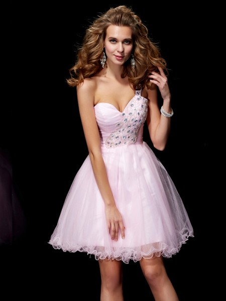 Stylish A-Line/Princess Sleeveless Beading One-Shoulder Short Elastic Woven Satin Homecoming Dresses