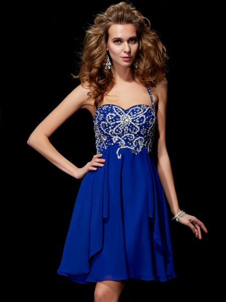 Stylish A-Line/Princess Sleeveless Beading Halter Short Chiffon Homecoming Dresses