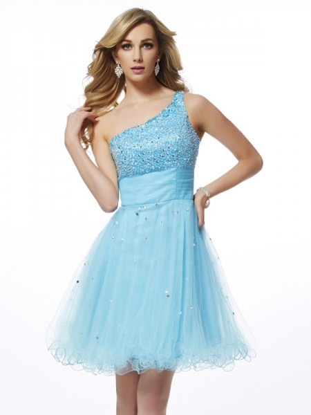 Stylish A-Line/Princess Sleeveless Beading One-Shoulder Short Organza Homecoming Dresses