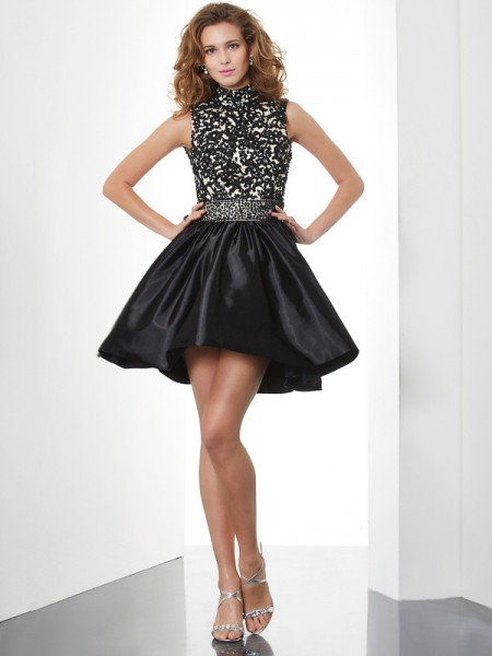 Fashion A-Line/Princess Sleeveless Beading High Neck Short Taffeta Homecoming Dresses