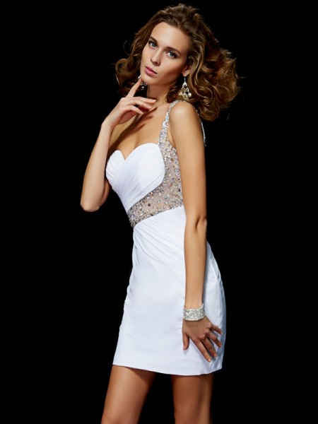 Stylish A-Line/Princess Sleeveless Sequin One-Shoulder Short Chiffon Homecoming Dresses