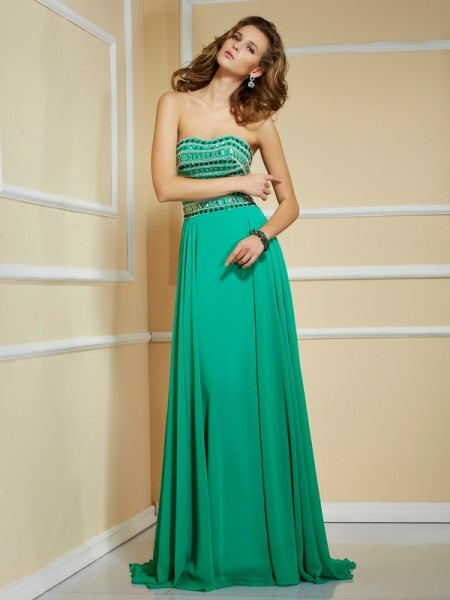 Fashion A-Line/Princess Sleeveless Rhinestone Strapless Long Chiffon Dresses