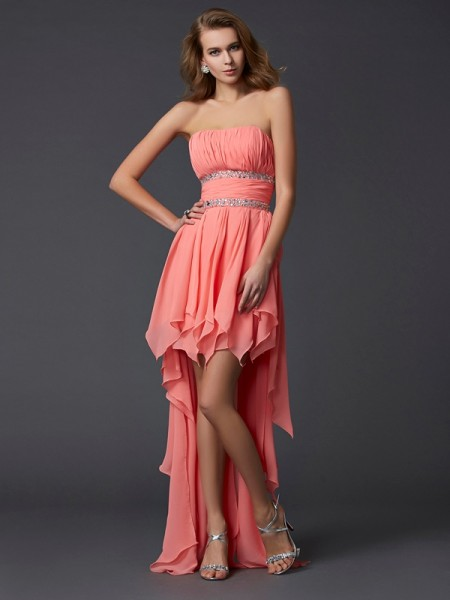 Fashion Empire Sleeveless Ruffles Strapless High Low Chiffon Homecoming Dresses