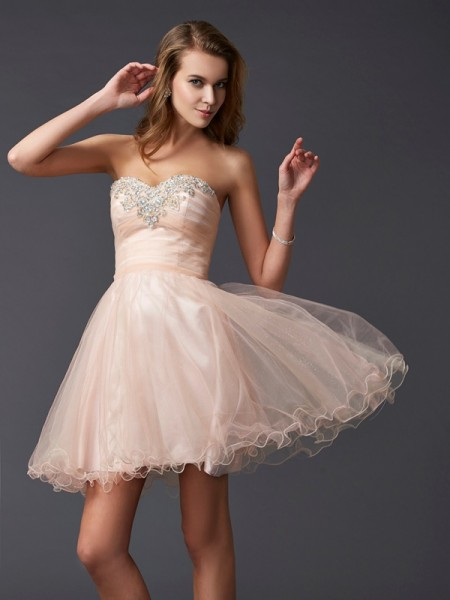 Stylish A-Line/Princess Sleeveless Short Sweetheart Silk like Satin Homecoming Dresses