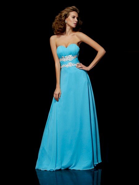 Fashion A-Line/Princess Sleeveless Applique Sweetheart Long Chiffon Dresses