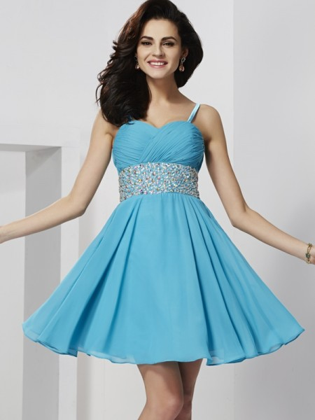 Stylish A-Line/Princess Straps Sleeveless Spaghetti Rhinestone Short Chiffon Homecoming Dresses