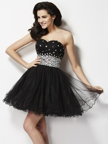 Fashion A-Line/Princess Sleeveless Beading Sweetheart Sequin Short Elastic Woven Satin