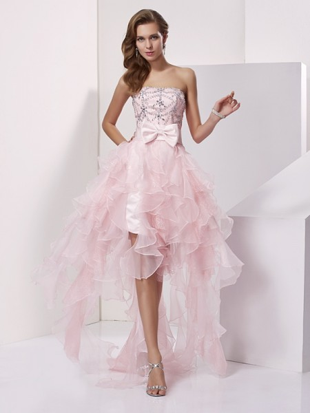 Stylish A-Line/Princess Sleeveless Beading Strapless High Low Organza Homecoming Dresses