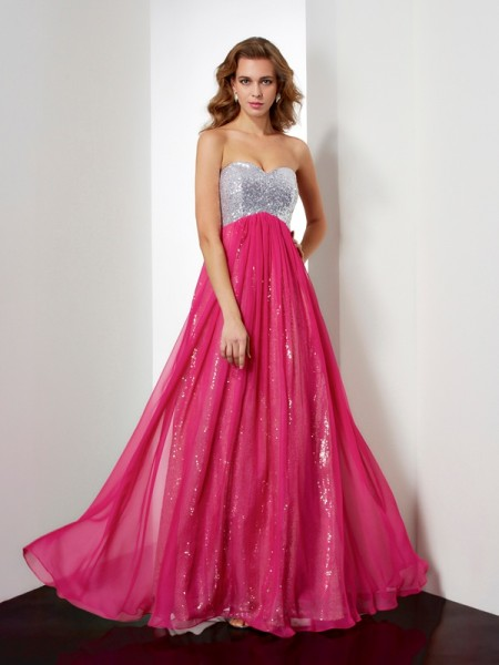 Fashion A-Line/Princess Beading Sweetheart Sleeveless Long Chiffon Dresses