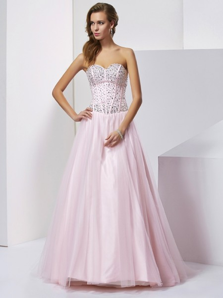 Stylish Ball Gown Sleeveless Beading Sweetheart Long Satin Quinceanera Dresses