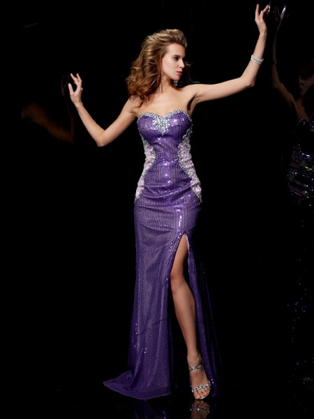 Fashion Sheath/Column Beading Sleeveless Sweetheart Long Elastic Woven Satin Dresses