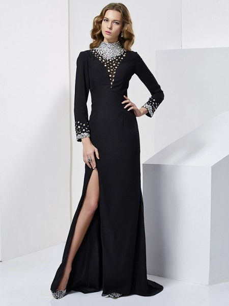 Fashion Sheath/Column Long Sleeves Rhinestone High Neck Long Chiffon Dresses