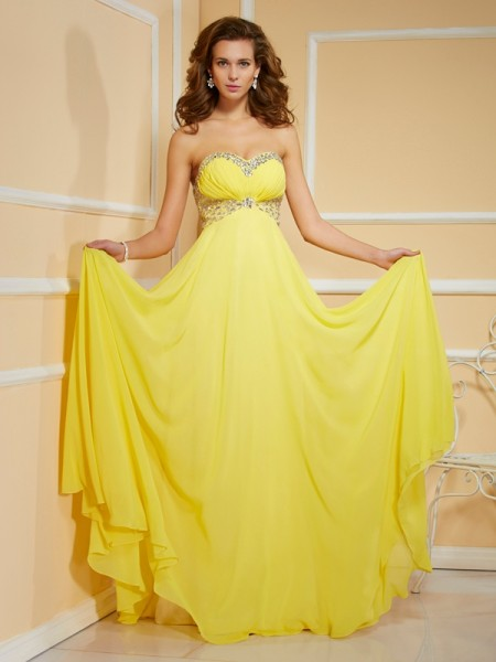 Stylish Sheath/Column Sleeveless Ruffles Sweetheart Ruched Long Chiffon Dresses