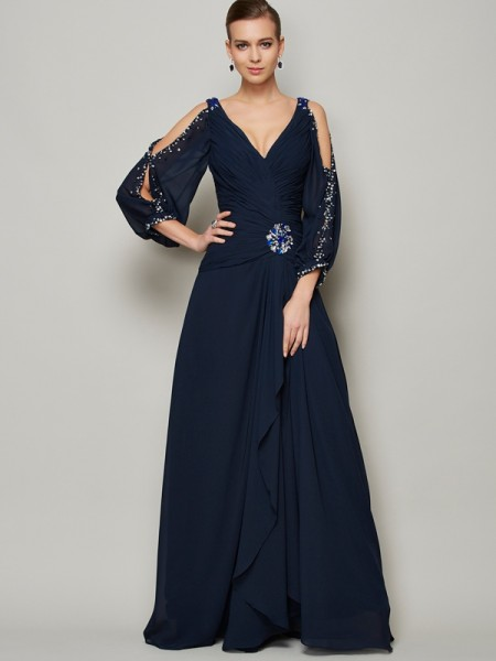 Stylish A-Line/Princess Long Sleeves Beading V-neck Long Chiffon Dresses