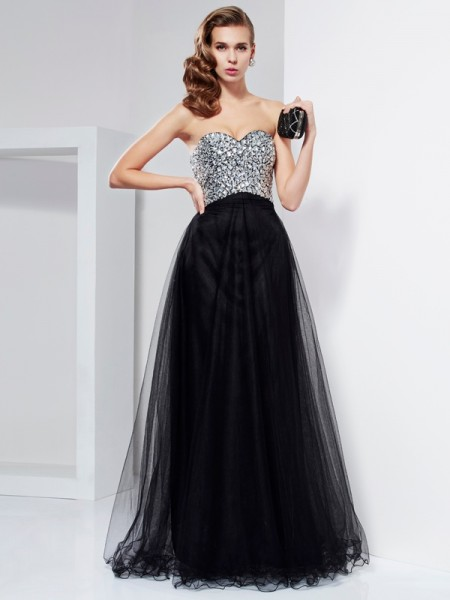 Stylish A-Line/Princess Sleeveless Beading Sweetheart Crystal Long Elastic Woven Satin