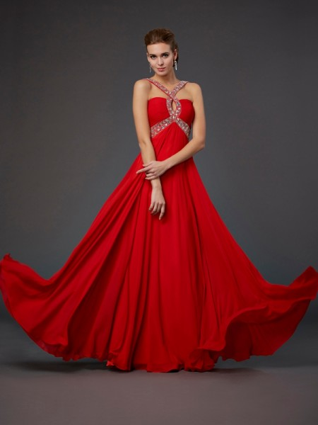 Fashion Sheath/Column Sleeveless Beading Halter Sequin Long Chiffon Dresses