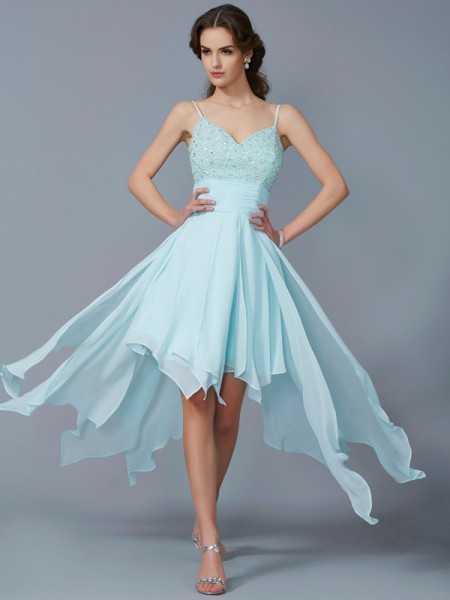 Fashion A-Line/Princess Straps Sleeveless Spaghetti Beading High Low Chiffon Homecoming Dresses