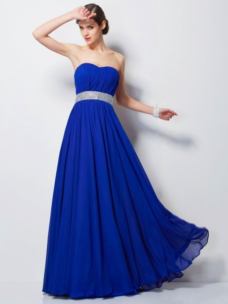 Stylish Empire Sleeveless Beading Sweetheart Long Chiffon Dresses