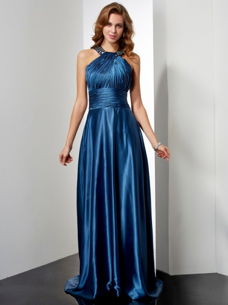 Stylish A-Line/Princess Sleeveless Ruffles Halter Long Elastic Woven Satin Dresses