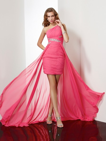 Fashion Sheath/Column Beading Sleeveless One-Shoulder Short Chiffon Homecoming Dresses