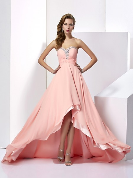Fashion A-Line/Princess Sleeveless Long Sweetheart Beading Chiffon Dresses