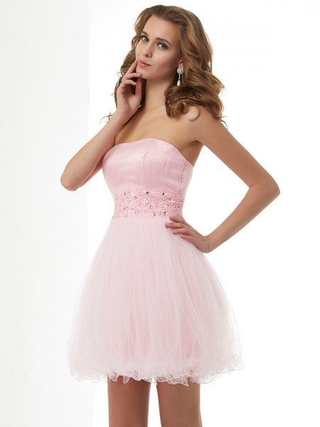 Fashion Sheath/Column Beading Short Sweetheart Elastic Woven Satin Homecoming Dresses