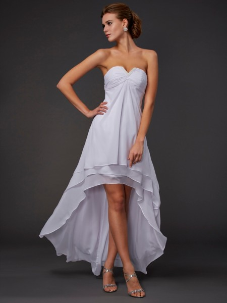 Stylish A-Line/Princess Sleeveless Ruffles Sweetheart High Low Chiffon Dresses