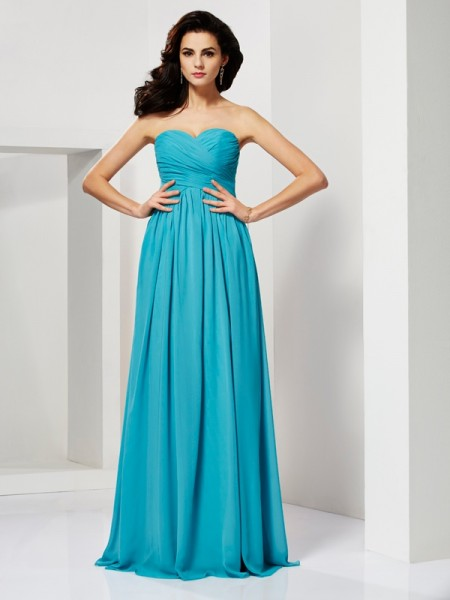 Fashion A-Line/Princess Sweetheart Sleeveless Pleats Long Chiffon Dresses