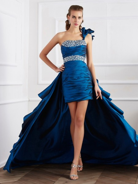 Stylish A-Line/Princess Sleeveless Beading One-Shoulder High Low Taffeta Dresses