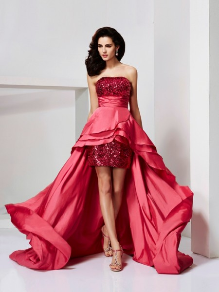 Stylish A-Line/Princess Sleeveless Lace Strapless High Low Taffeta Dresses
