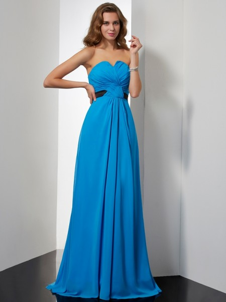 Stylish A-Line/Princess Sleeveless Sash/Ribbon/Belt Sweetheart Long Chiffon Dresses