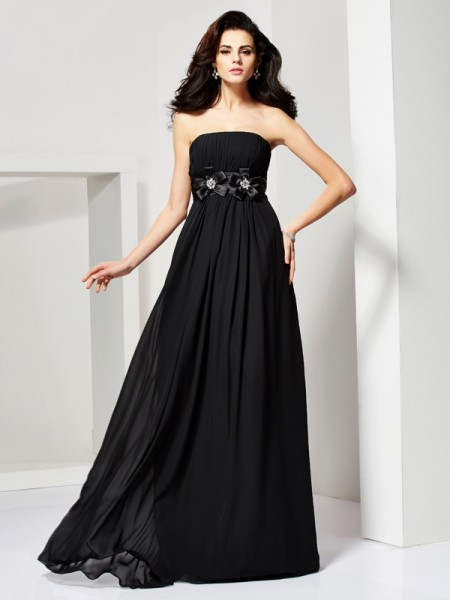 Fashion A-Line/Princess Sleeveless Hand-Made Strapless Flower Long Chiffon Dresses