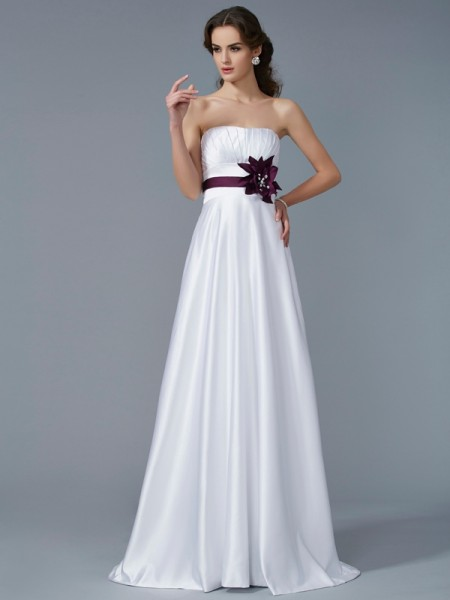Fashion A-Line/Princess Sleeveless Hand-Made Strapless Flower Long Satin Dresses