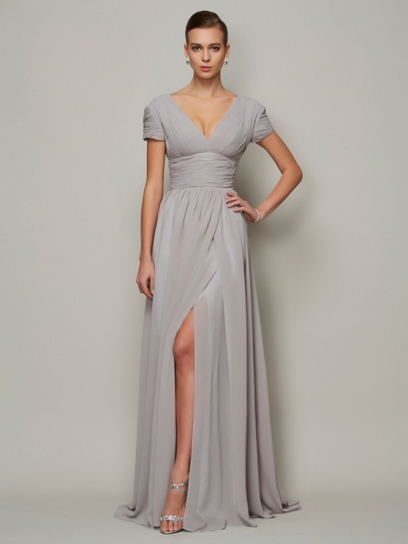 Stylish A-Line/Princess Short Sleeves Long V-neck Chiffon Mother of the Bride Dresses