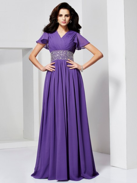 Stylish A-Line/Princess Short Sleeves Beading V-neck Long Chiffon Dresses