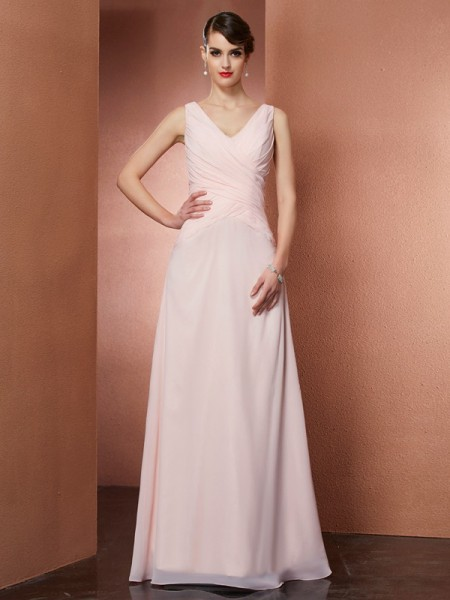 Fashion A-Line/Princess Sleeveless Pleats V-neck Long Chiffon Dresses