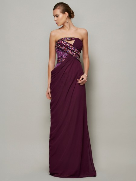 Stylish A-Line/Princess Sleeveless Beading Strapless Long Chiffon Dresses