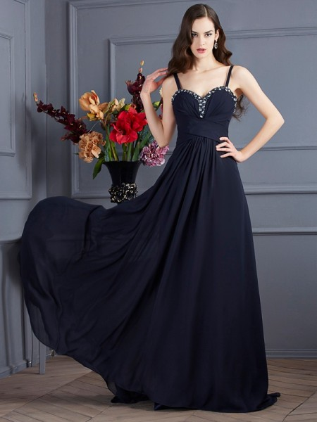 Stylish A-Line/Princess Straps Sleeveless Spaghetti Beading Long Chiffon Dresses
