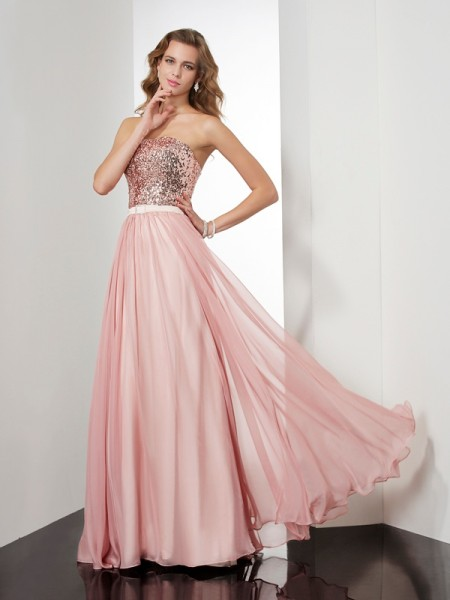 Fashion A-Line/Princess Sleeveless Paillette Strapless Long Chiffon Dresses